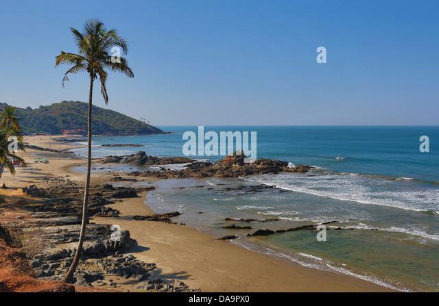 Indien, Süd-Indien, Asien, Goa, Vagator Beach, Vagator, Strand, schön, farbig, bunt, Palmen, Tourismus, Stockbild