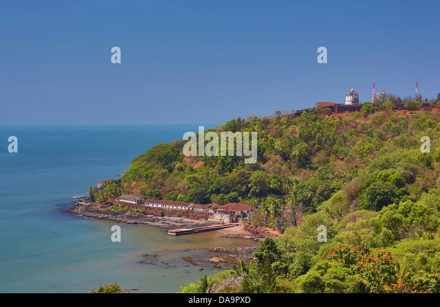 Indien, Süd-Indien, Asien, Goa, Aguada, Gefängnis, Fort, Architektur, Küste, Geschichte, Leuchtturm, Stockbild