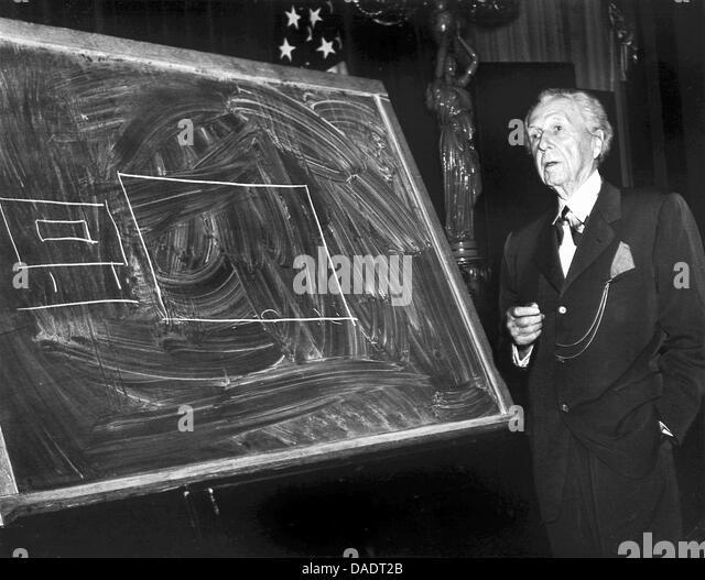 Architekt Frank Lloyd Wright im Jahre 1952.  Porträt von Fotograf Fred Stein (1909 ? 1967), die 1933 aus Nazideutschland Stockbild