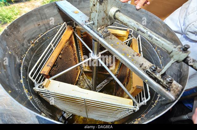 Herstellung von Honig Verarbeitungsgeräte Stockbild