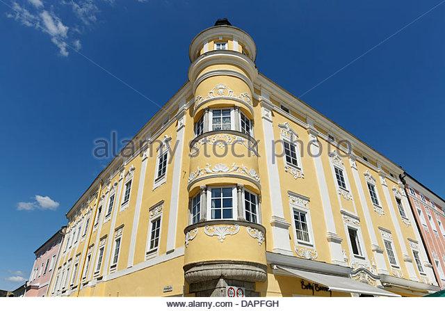 Österreich, Oberösterreich, Blick auf Barockhaus Stockbild