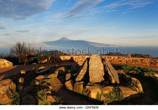 Spanien, La Gomera, Rekonstruktion des Rituals legen Sie am Gipfel des Alto de Garajonay Stockbild