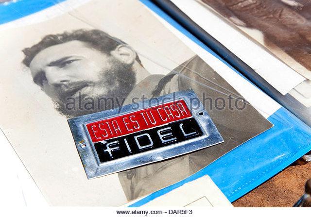 Seltene alte Metallplakette Haus Fidel, Havanna, Kuba, Südamerika Stockbild