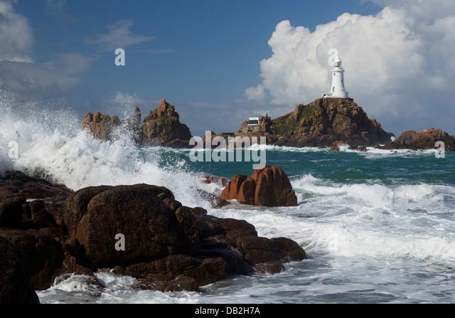 Corbiere Leuchtturm Jersey Kanalinseln, UK LA005939 Stockbild