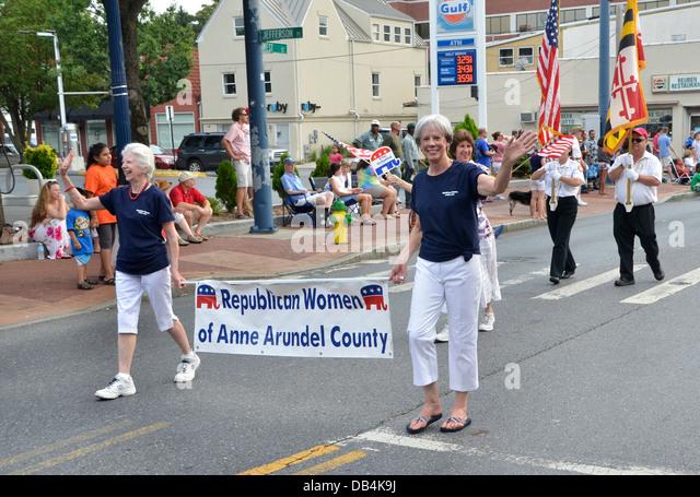 Republikanischen Frauen Gruppe März an der July4-Parade in Annapolis, Maryland Stockbild