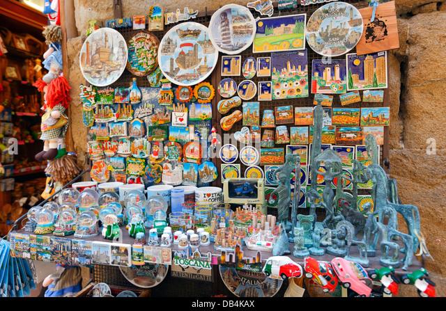 Souvenir-Shop in San Gimignano, Italien Stockbild