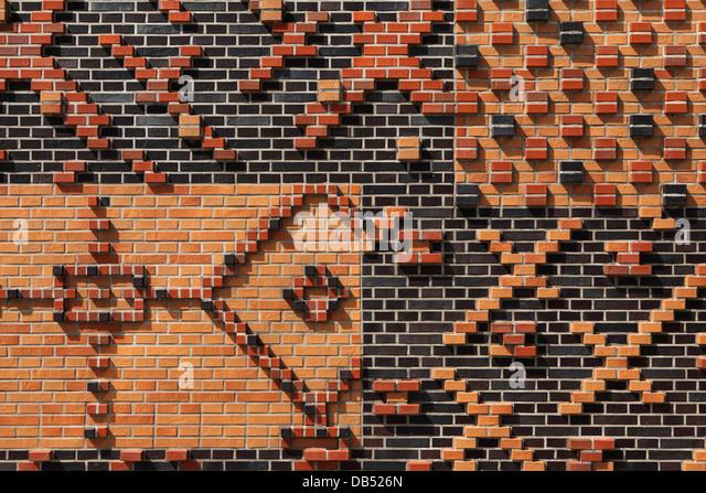 Gemusterten Mauerwerk in der HafenCity von Hamburg, Deutschland. Stockbild