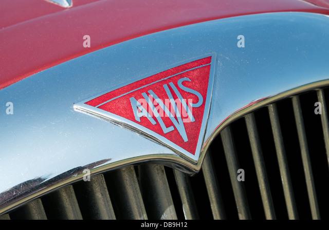 Das Abzeichen auf der Chrom-Kühlergrill eines Oldtimers britische Alvis motor Stockbild