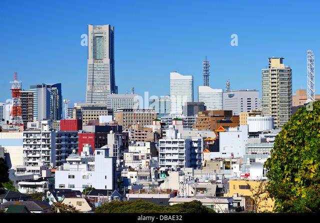 Stadtbild von Yokohama, Japan, die zweitgrößte Stadt des Landes. Stockbild