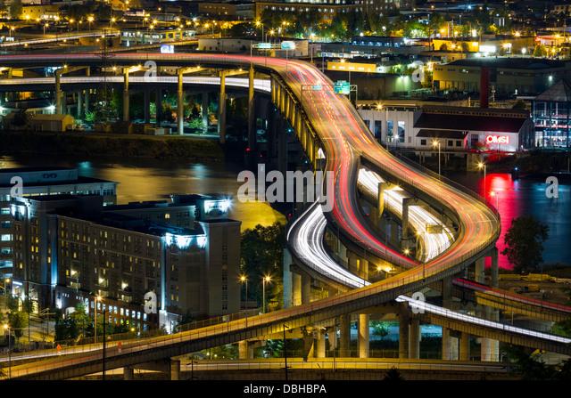 Belebten Autobahn in Portland, Oregon, USA Stockbild