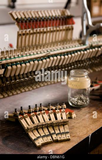Musikalischer Mechanismus eines Klaviers, Regensburg, Bayern, Deutschland Stockbild