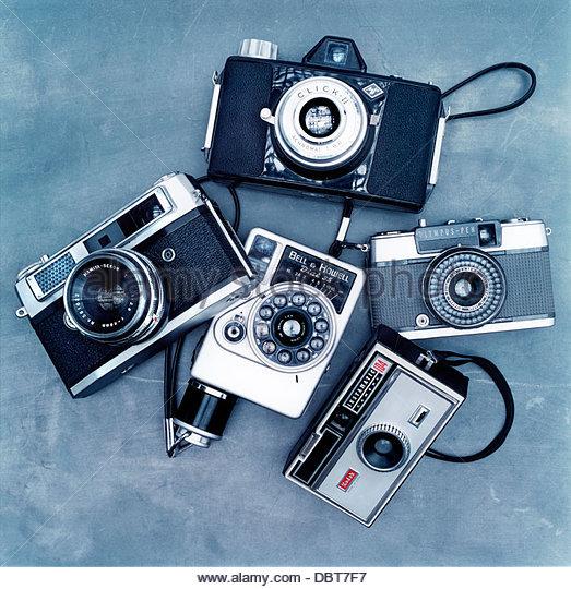 Sammlung von alten altmodisch Kameras Stockbild