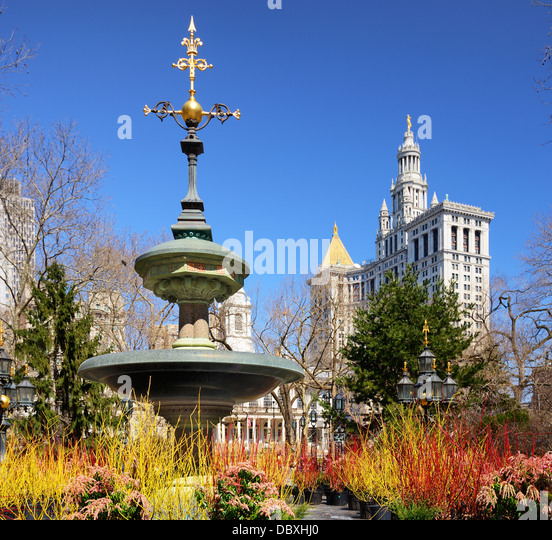 City Hall Park in New York City. Stockbild