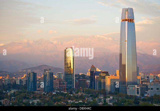 Skyline von Santiago, Chile Stockbild