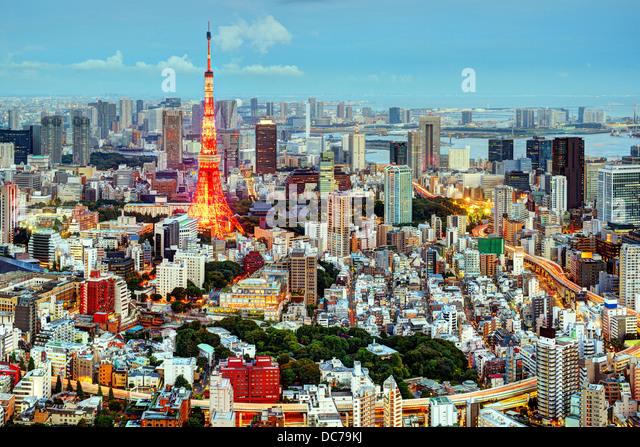 Tokyo, Japan Stadtbild am Tokyo Tower. Stockbild