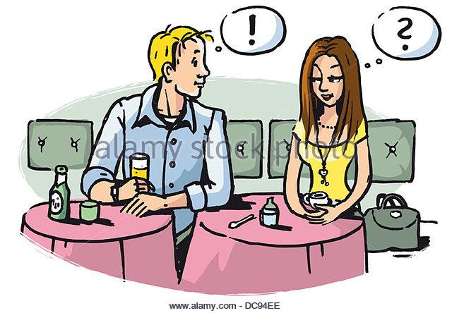 flirten Sie im Café Serie maennertypen Stockbild