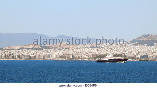 Luxus Yacht Piräus Akropolis Athen Stockbild