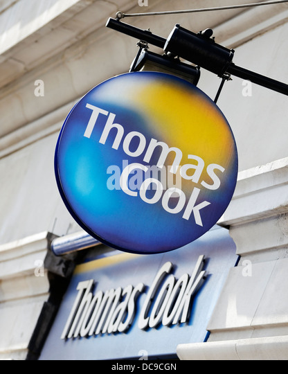 Thomas Cook Reisebüros Shop Zeichen, Marble Arch, London, UK. Stockbild