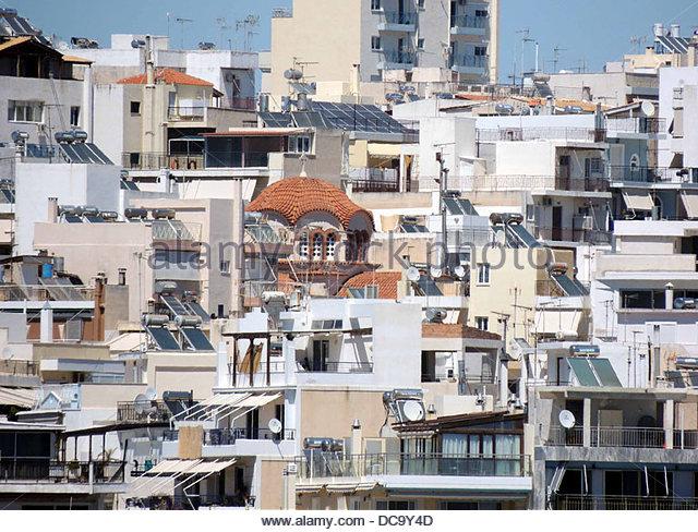 Häuser Ganzkörpertiefenmassage Griechenland Stockbild