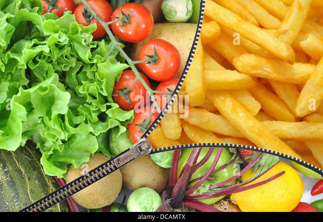 Gesunde oder ungesunde Nahrung Konzept Stockbild