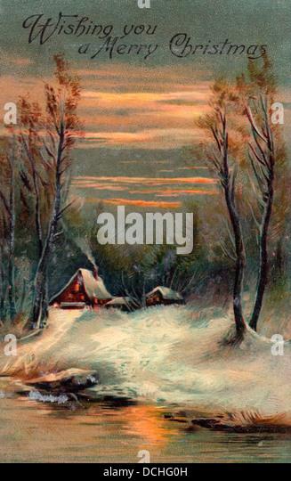 Wir wünschen Ihnen ein frohes Weihnachtsfest - Vintage-Karte mit Häusern neben See Stockbild