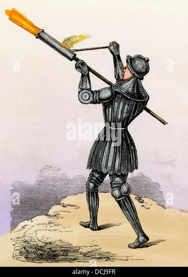 Bombard, eine tragbare Kanone von 1400, möglicherweise die erste tragbare Waffe. Stockbild