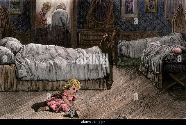 Kind verwaist nach Familienmitgliedern starb an Gelbfieber, Louisiana, der 1870er Jahre. Stockbild