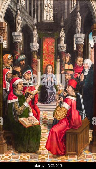 15. Jahrhundert - Christus unter den Ärzten, 1495 Meistern der Katholiken Könige Philippe Sauvan-Magnet Stockbild