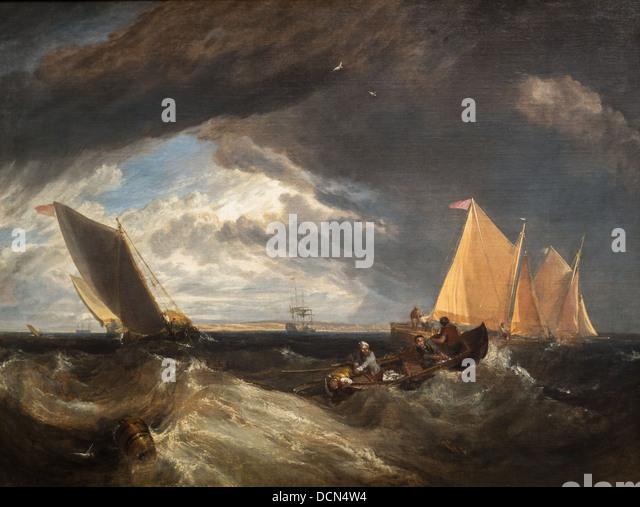 19. Jahrhundert - die Kreuzung der Themse und Medway, 1807 - Joseph Mallord Willam Turner Stockbild