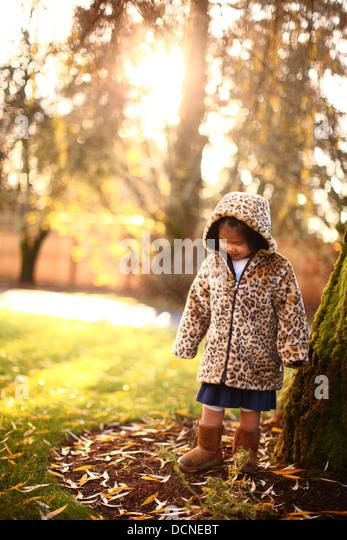 Junges Mädchen von Bäumen im Herbst Stockbild