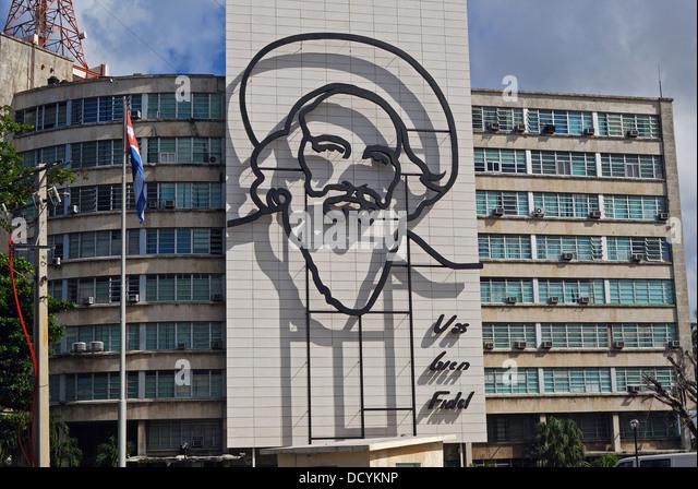 Schmiedearbeiten Bild von Fidel Castro an der Seite der Regierungsgebäude, Plaza De La Revolucion, Havanna Stockbild