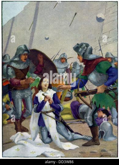 Joan wurde durch einen Pfeil verwundet, als Soldaten einrichten Skalierung Wand für den Angriff auf Les Tourelles Stockbild