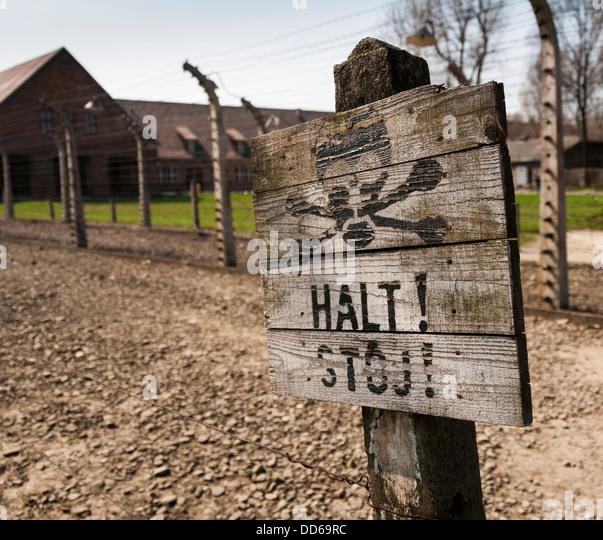Melden Sie sich im KZ Auschwitz, Polen. Stockbild