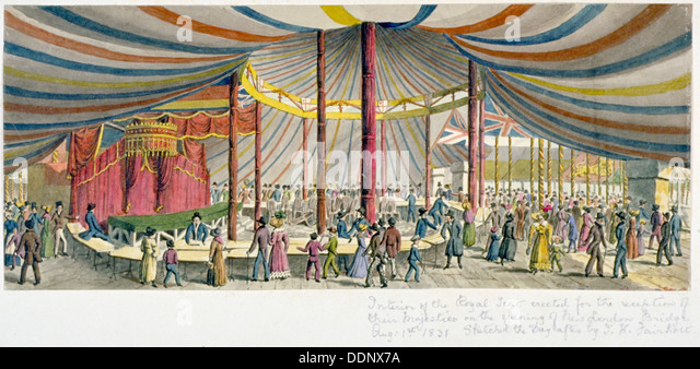 Königliche Eröffnung der London Bridge, 1831. Künstler: JH Fairholt Stockbild
