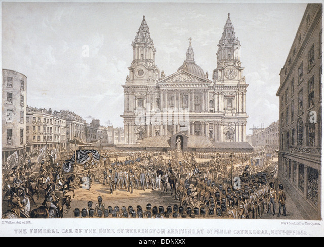 Beerdigung des Herzogs von Wellington, St. Pauls Cathedral City of London, 18. November 1852. Künstler: Tag Stockbild