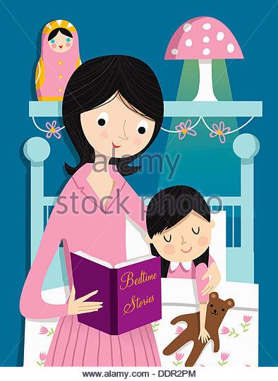 Mutter Lesung Gutenachtgeschichte Tochter Stockbild