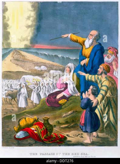 Moses, die Teilung des Roten Meeres, der 1870er Jahre. Künstler: Siegfried Detlev Bendixen Stockbild