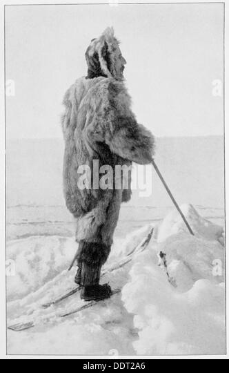 Roald Amundsen in polar-Kit, Antarktis, 1911-1912. Künstler: unbekannt Stockbild