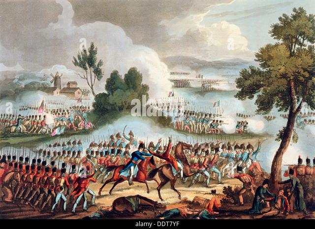 """""""Der linke Flügel der britischen Armee im Einsatz bei der Schlacht bei Waterloo, 18. Juni 1815 Künstler: Stockbild"""