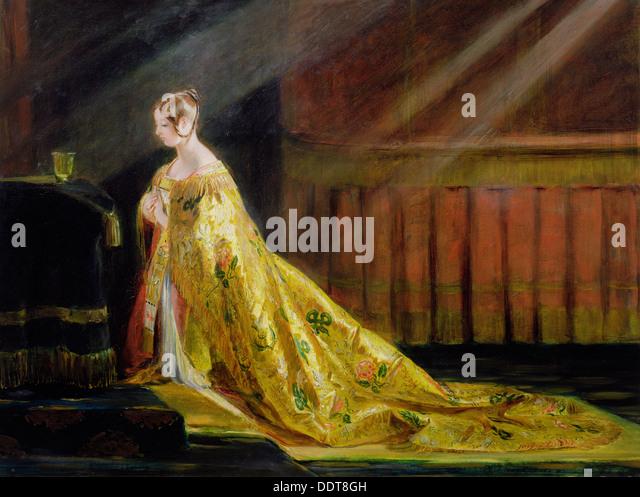 """""""Queen Victoria in ihrer Krönungsrobe"""", 1838. Künstler: Charles Robert Leslie Stockbild"""