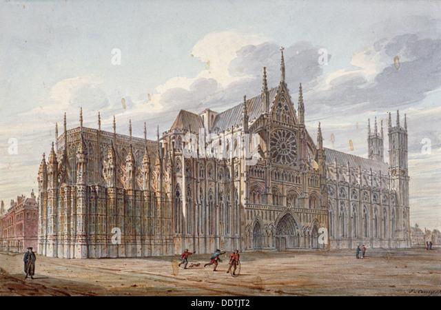 Westminster Abbey, London, 1816.                      Künstler: John Coney Stockbild