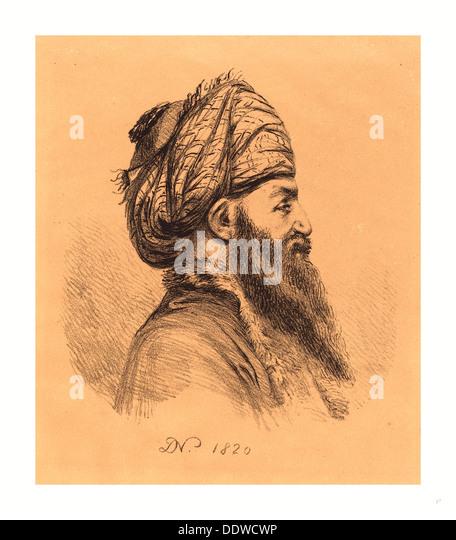 Baron Dominique Vivant Denon (Französisch, 1747 1825), Profil Head of Oriental mit Turban, Lithographie 1820, Stockbild