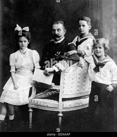 Franz Ferdinand und seine Kinder Stockbild