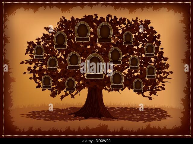 Vektor-Familie Baum mit Frames und Blätter. Platz für Text. Stockbild