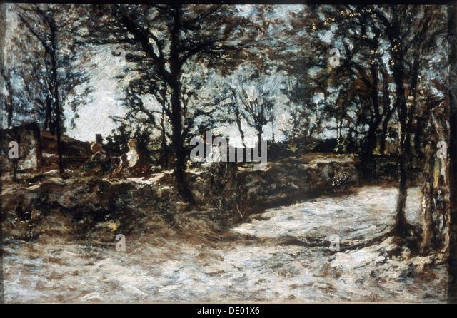 """Landschaft. Fontainebleau "", 19. Jahrhundert.  Künstler: Adolphe Monticelli Stockbild"