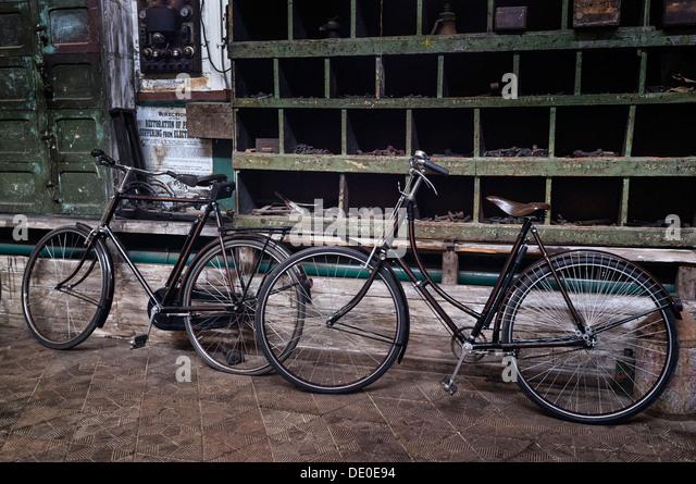 Altmodische aufrechte Fahrräder Stockbild