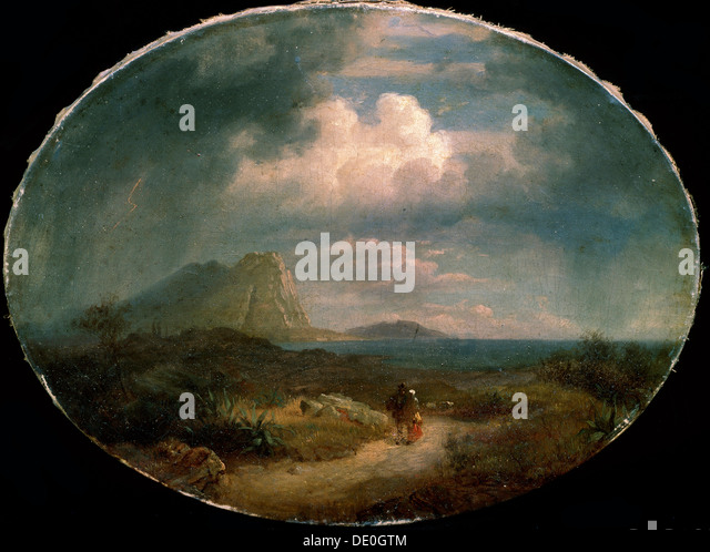 """Italienische Landschaft"", Anfang des 19. Jahrhunderts. Stockbild"
