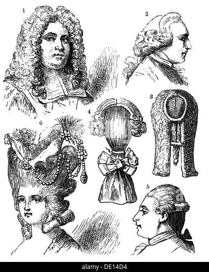 Mode Frisuren anders Perücke Holzstich 19. Jahrhundert 17. Jahrhundert 18. Jahrhundert 19. Jahrhundert Grafik Stockbild