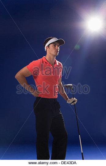 Spieler halten Golfclub Stockbild