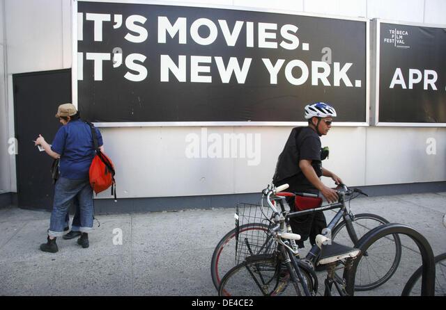 New York City (USA): Zeichen in TriBeCa während des TriBeCa Filmfestivals Stockbild
